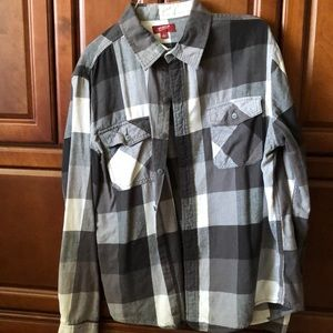 Men's Gray and White Plaid Flannel - Size L